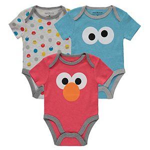 Baby Boy Isaac Mizrahi Loves Sesame Street 3 Pack Elmo, Cookie Monster & Dots Bodysuit Set