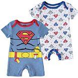 Baby Boy Superman 2 Pack Romper Set