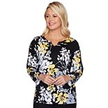 Women's Alfred Dunner Floral Splitneck Sweater