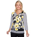 Petite Alfred Dunner Floral & Geometric Print Knit Top
