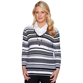 Alfred Dunner Plus Embellished Stripe Textured Sweater