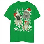 Boys 8-20 Pug Kitten Tongue Out Santa Hat Holiday Graphic Tee
