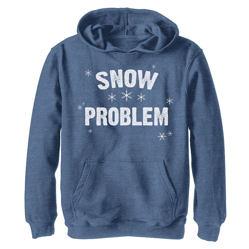 Boys 8-20 Snow Problem Snowflake Scatter Christmas Graphic Fleece Pullover Hoodie, Boy's, Size: Small, Med Blue