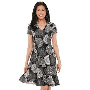 Women's Croft & Barrow® V-Neck Fit 'n' Flare Dress