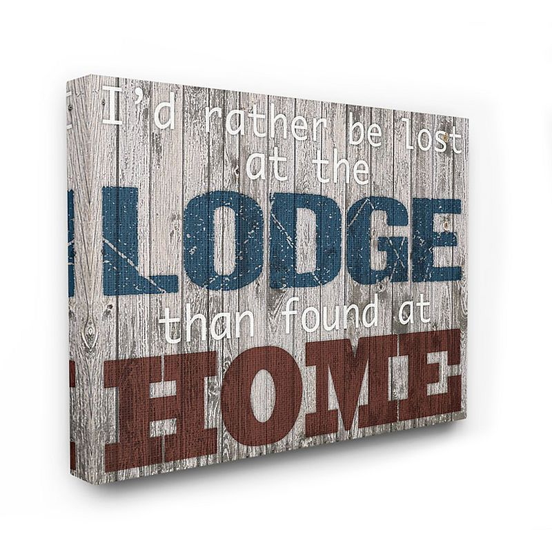 Stupell Home Decor Lost at the Lodge Wood Textured Canvas Wall Art. Multicolor. 24X30