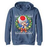Boys 8-20 Nintendo Super Mario 3D Toad Christmas Wreath Graphic Hoodie