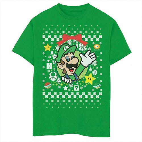 Boys 8-20 Nintendo Super Mario Luigi Classic Ugly Christmas Graphic Tee
