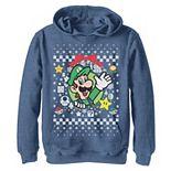 Boys 8-20 Nintendo Super Mario Luigi Classic Ugly Christmas Graphic Hoodie