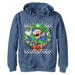 Boys 8-20 Nintendo Super Mario 3D Luigi Christmas Wreath Graphic Hoodie
