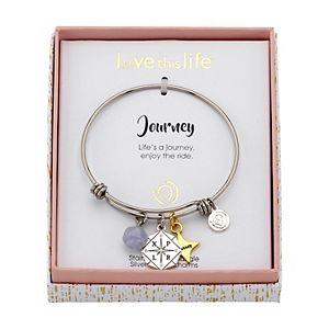 "LovethisLife® ""Journey"" Two-Tone Compass Agate Bead Bangle Bracelet"