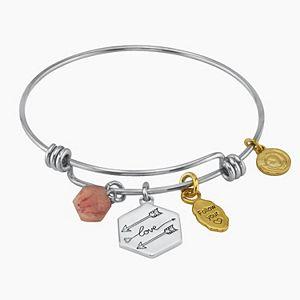 "LovethisLife® ""Love"" Two-Tone Arrow Rose Quartz Bead Bangle Bracelet"