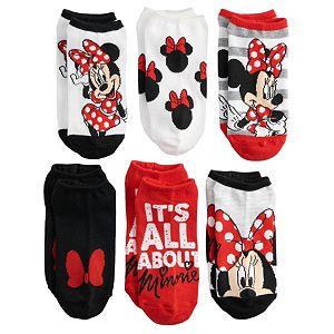 Disney's Minnie Mouse Juniors' 6-pack No-Show Socks