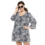 Plus Size Portocruz Palm Print Tunic Cover Up