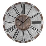 "E2 31"" Wood and Metal Oversized Vintage Wall Clock"