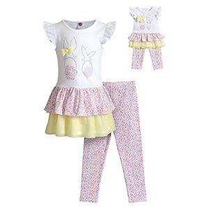 Dollie /& Me Girls Long Sleeve Butterfly Mini Dress with Leggings