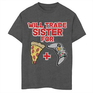 Boys 8-20 Trade Sister For Pizza And Games Graphic Tee