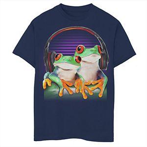 Boys 8-20 Twin Frogs Wearing Headphones Graphic Tee