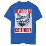 Boys 8-20 Beware Of Catitude Poster Graphic Tee
