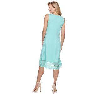 Women's Nina Leonard Lace Hem Midi Dress