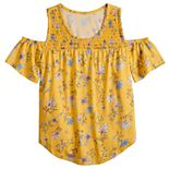 Girls 4-20 & Plus Size SO® Smocked Cold Shoulder Top