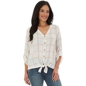 Women's Apt. 9® Button-Front Knot-Hem Top