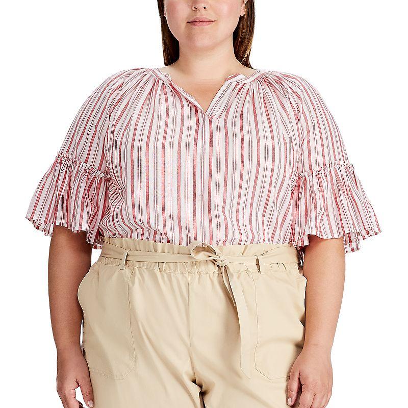 Plus Size Chaps Striped Blouse, Women's, Size: 1XL, Red