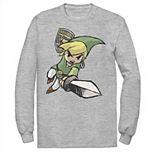 Men's Nintendo Legend Of Zelda Link Action Pose Sketch Logo Sweatshirt