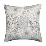 Edie @ Home Fine Line Embroidered Floral Indoor & Outdoor Throw Pillow