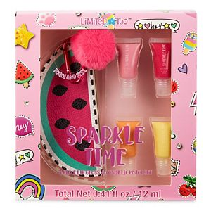 Girls Limited Too Sparkle Time 4-Piece Lip Gloss & Cosmetic Pouch Set