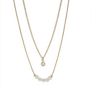 LC Lauren Conrad Simulated Pearls & Cubic Zirconia Multistrand Necklace
