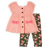 Baby Girl Little Lass 2-Piece Woven Eyelet Button-Down Capri Set