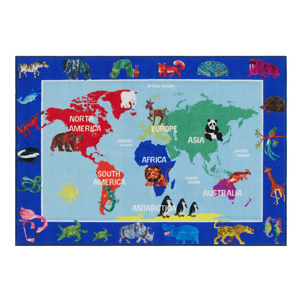 Eric Carle Elementary World Map Kids Area Rug