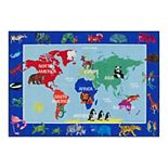 Eric Carle Elementary World Map Kids Area Rug