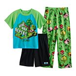 Boys 6-12 Minecraft Earth Go Explore 3-Piece Pajama Set