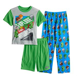 Boys 6-12 Minecraft Explore The World 3-Piece Pajama Set
