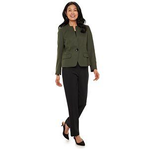 Le Suit Womens Striped Herringbone 2 Button Notch Collar Pant Suit