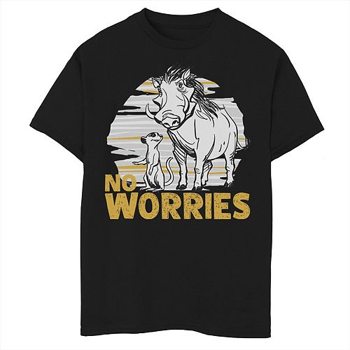 Disney's The Lion King Boys 8-20 Live Action Timon Pumbaa No Worries Graphic Tee