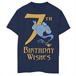 Disney's Aladdin Boys 8-20 Genie 7th Birthday Wishes Graphic Tee