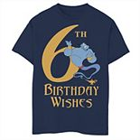 Disney's Aladdin Boys 8-20 Genie 6th Birthday Wishes Graphic Tee