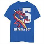 Disney's Mulan Boys 8-20 5th Birthday Boy Mushu Portrait Graphic Tee