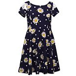 Girls 7-16 Bonnie Jean Lattice Cutout Sleeve Daisy Skater Dress