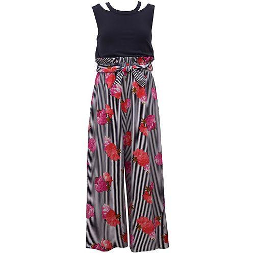 Girls 7-16 Bonnie Jean Floral Cutout Jumpsuit