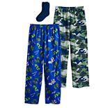 Boys 4-16 Up-Late 3-piece Pajama Pants & Socks set