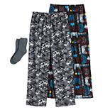 Boys 4-16 Up-Late 3-piece Pajama Pants & Socks set