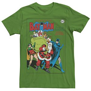 Men's DC Comics Seasons Greetings From Batman And Robin Christmas Tee