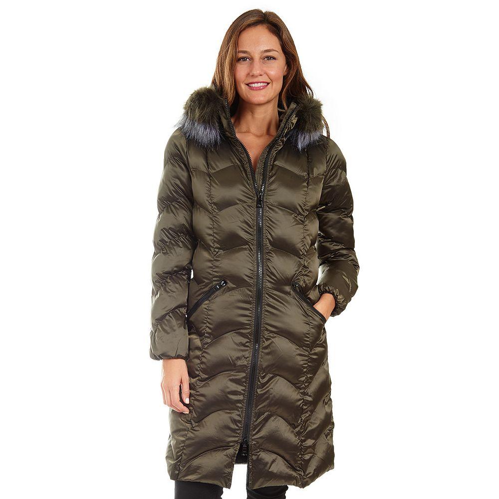 Women's Fleet Street Long Faux Down Coat with Faux Fur Trimmed Hood