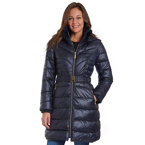 Women's Fleet Street Long Faux Down Coat with Removable Hood
