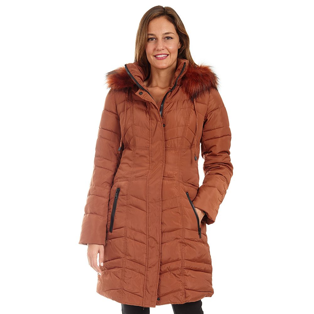 Women's Fleet Street Long Faux Down Quilted Coat with Detachable Faux Fur Trimmed Hood