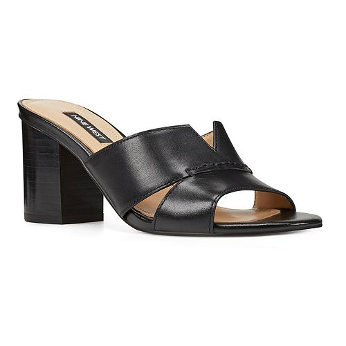Nine West Nicolet Women's Leather Block Heel Slides