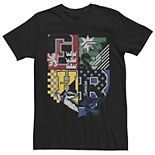 Men's Deathly Hallows 2 House Crests Colorful Badge Tee